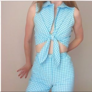 Vintage Blue Gingham Two-Piece Set
